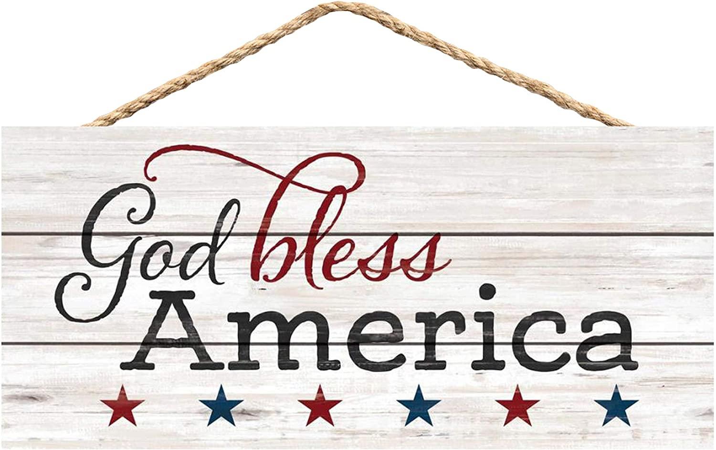 P. Graham Dunn God Bless America Distressed Patriotic 10 x 5 Pine Wood Decorative String Sign