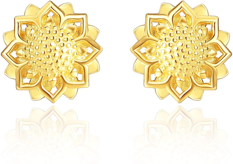 925 Sterling Silver Sunflower Earrings for Women Studs Earrings