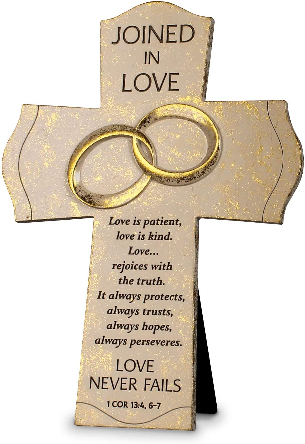 Lighthouse Christian Products Joined Love Never Fails Flecked Gold Tone 10 Inch cast Stone Cross Figurine