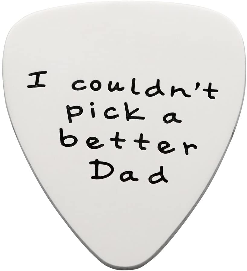 Fathers Day Gift Mens I couldn't Pick a Better Dad Guitar Pick Custom Gift for Daddy Papa Stainless Steel (Polished)