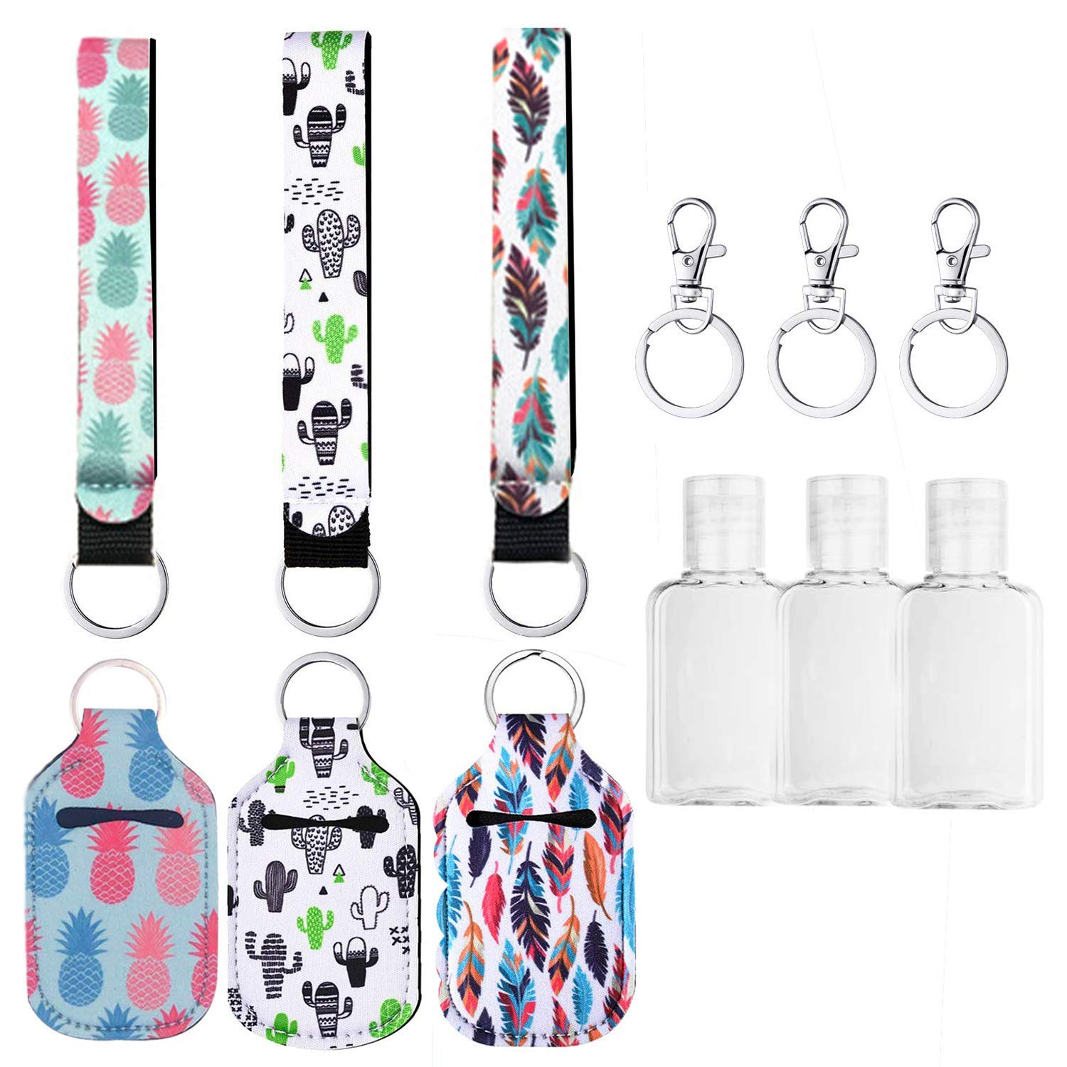 Neoprene Lanyard Hand Sanitizer Holder with Empty Bottle Flip Cap Mini hand Sanitizer Holder Keychain 1 OZ
