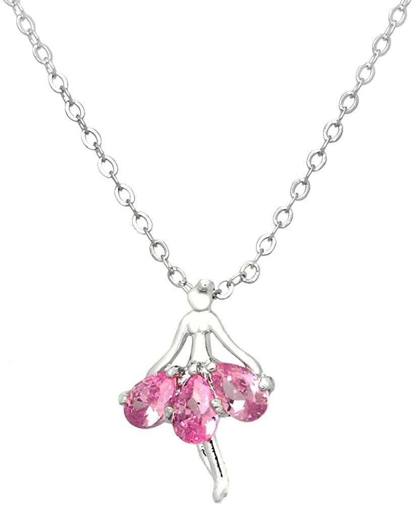 Liavy's Ballerina Charm Pendant Fashionable Necklace - Sparkling Cubic Zirconia Crystal - 17