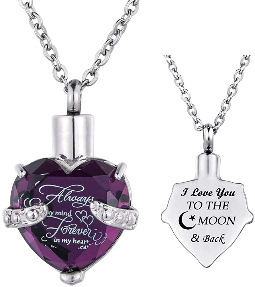 Stainless Steel Cremation Urn Jewelry Ashes Urn Memorial Keepsake Always on My Mind Forever in My Heart Pendant Necklace