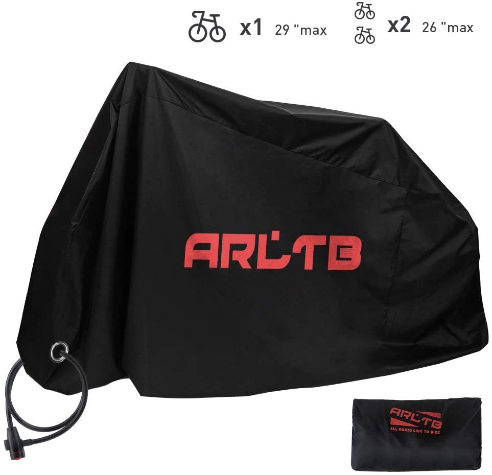 Arltb 2 in 1 Bike Cover with Lock Hole & Bike Lock Included - Waterproof Bicycle Cover Outdoor Windproof UV Snow Rustproof Covers for Bicycle Motorcycle Electric Bike Scooter Cruiserbike