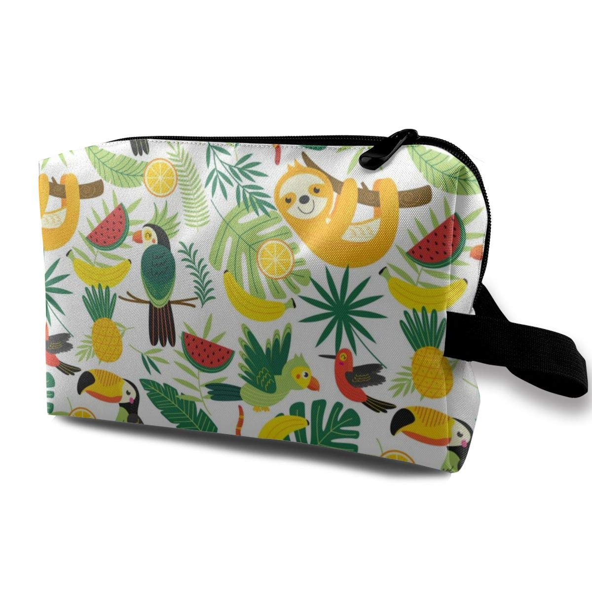 Tropical Animals Sloth And Toucan Cosmetic Bag Adorable Roomy Makeup Bags Travel Waterproof Toiletry Bag Accessories Organizer for Women Men Kid