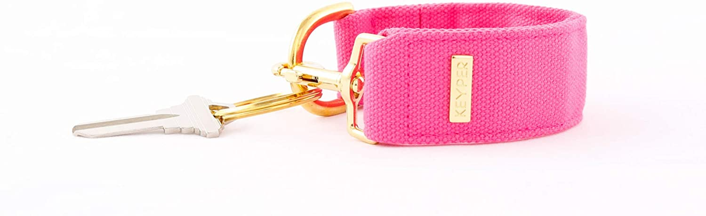 KEYPER Useful Keychain Wristlet - Key Organizer Key Fob Chain – Anti-Theft Pink Canvas Key Lanyard Keychain Loop…