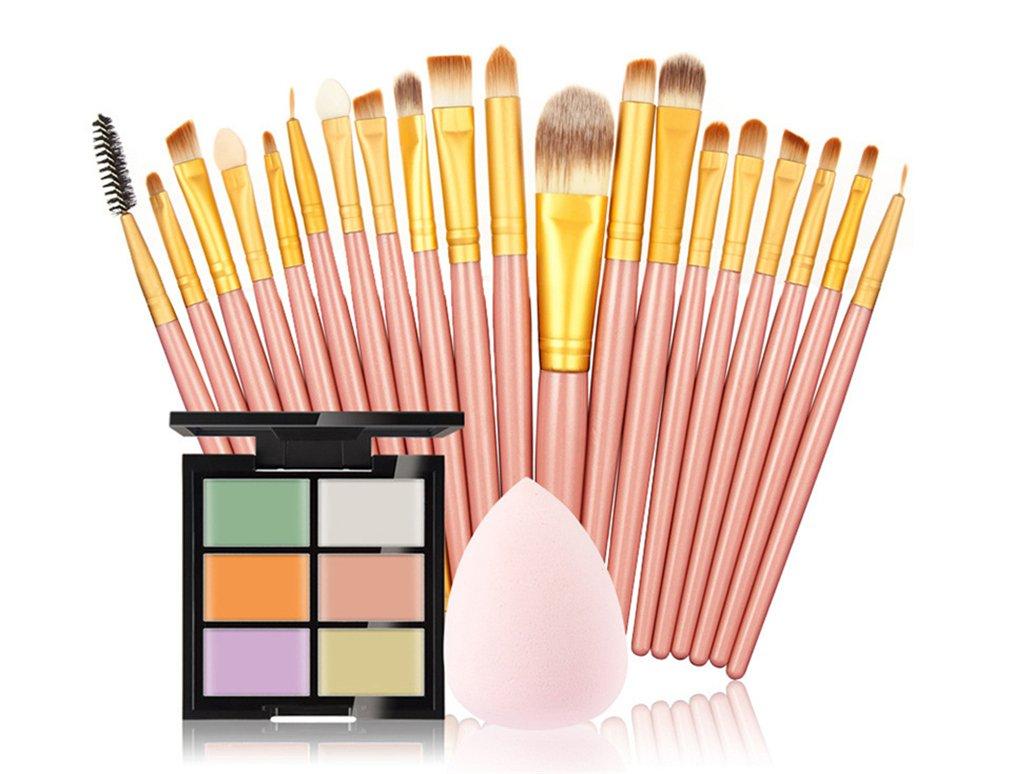 FantasyDay 6 Colors Contour Face Cream Makeup Concealer Kit Camouflage Palette + 20Pcs Beauty Foundation Blending Blush Face Powder Brush Makeup Brush Kit With Free Makeup Sponge Blender #7