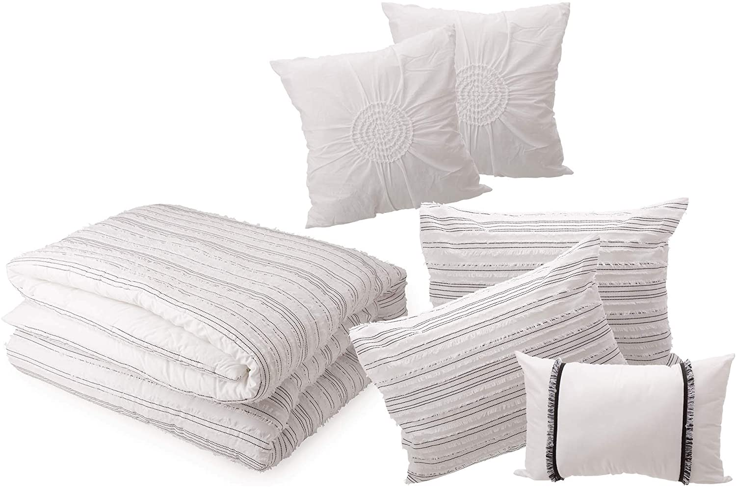 Glitzhome 6 Pcs 100% Cotton Striped Comforter Set Soft Comfortable Lightweight Bedding Set with 2 Pillow Sham and 3 Pillow for All Season, Full Queen
