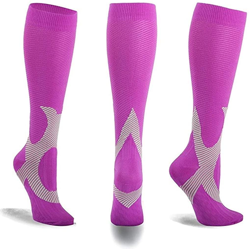 MojaSports Compression Socks - Best Graduated Athletic & Medical Use for Men & Women for Running, Flight, Travel, Nurses - Boost Performance, Blood Circulation & Recovery(Purple/Gray, 1 Pr, Sm/Med)