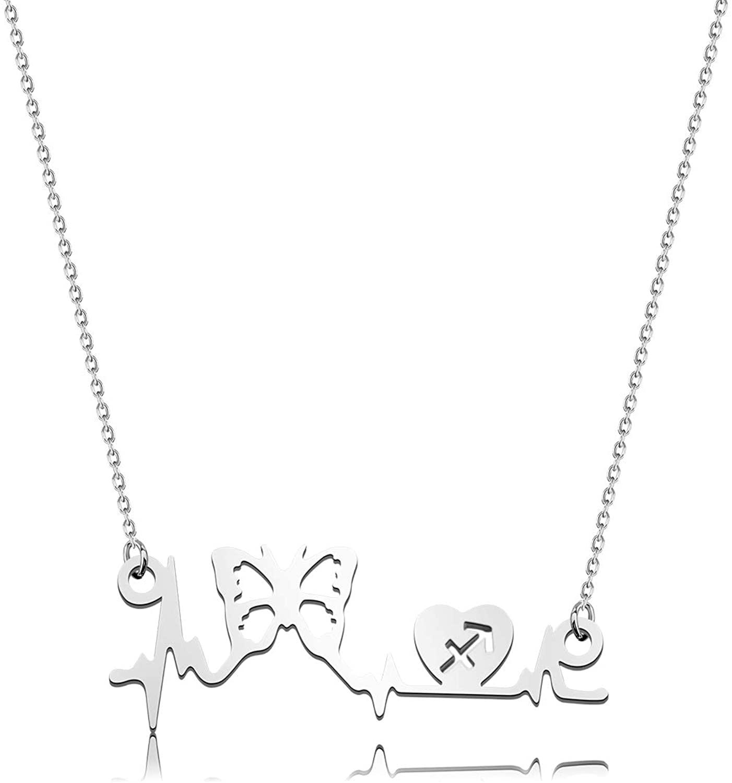Nurse Heart Beat Necklace Gifts Engraved 12 Zodiac Butterfly Pendant Nurse Necklace Nursing Jewelry Nurse Student Doctor Medical Assistant Gift