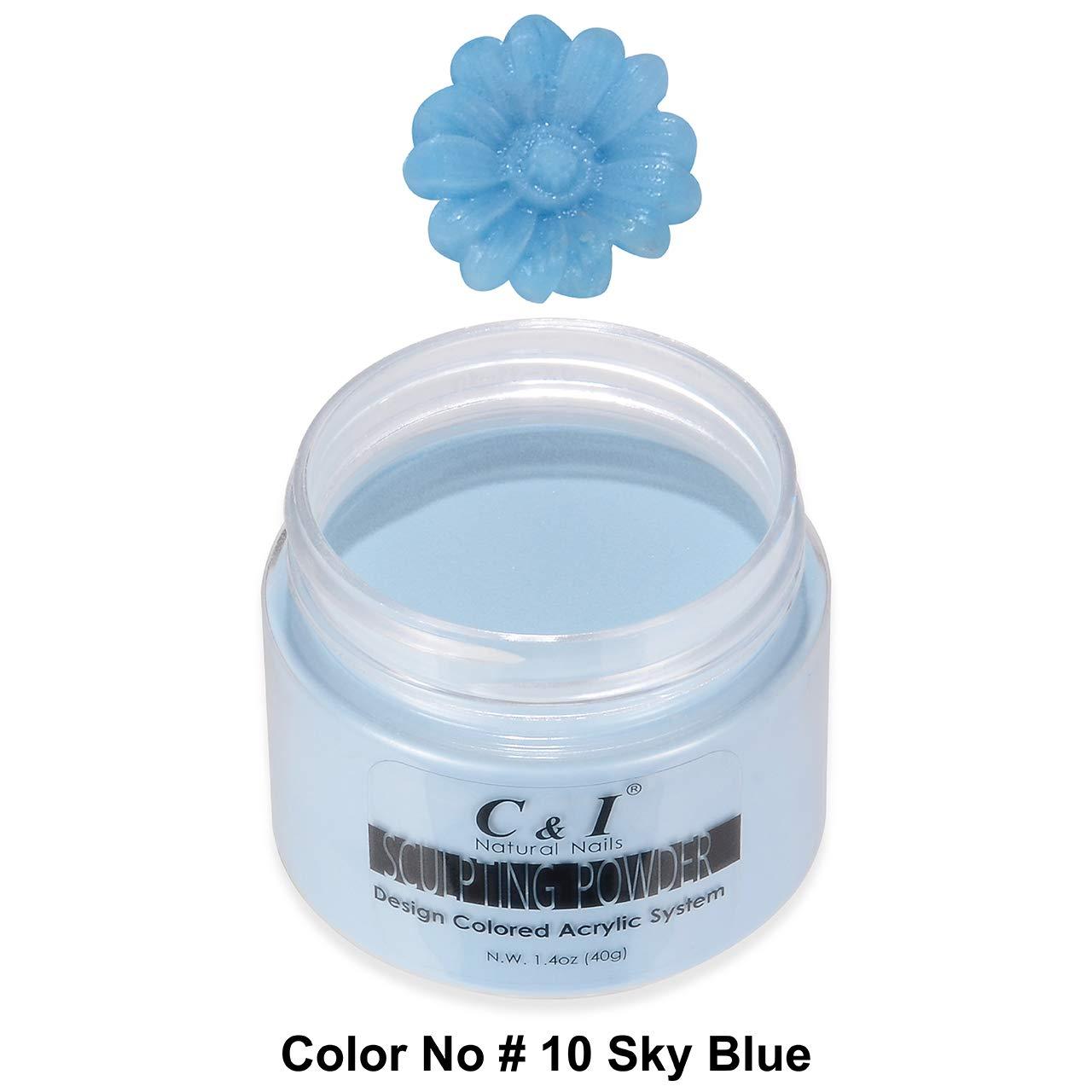 C&I Acrylic Powder, 10 Sky Blue, 3 D Nail Flower, Sculpting Nail Powder, 1.4 oz, 40 g