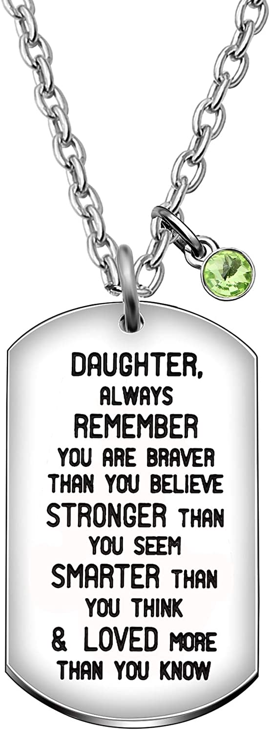 Aeora Inspiration Dog Tag Pendant Lettering Stainless Steel Necklace for Women Daughter Gift Jewelry