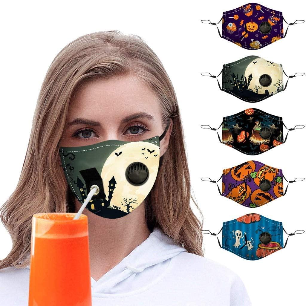 4/5PCS Halloween Funny Adults Drinking Printed Bandanas Breathable Reusable Adjustable Fashion Washable Cloth Face_Mask