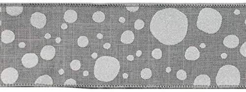 Grey White Glitter Polka Dots on Royal Canvas Wired Edge Ribbon - 10 Yards (2.5