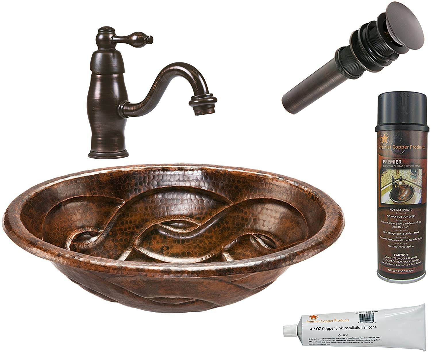 Premier Copper Products LO19RBDDB Oval Braid Self Rimming Hammed Copper Sink with Single Handle Faucet Package, Oil Rubbed Bronze