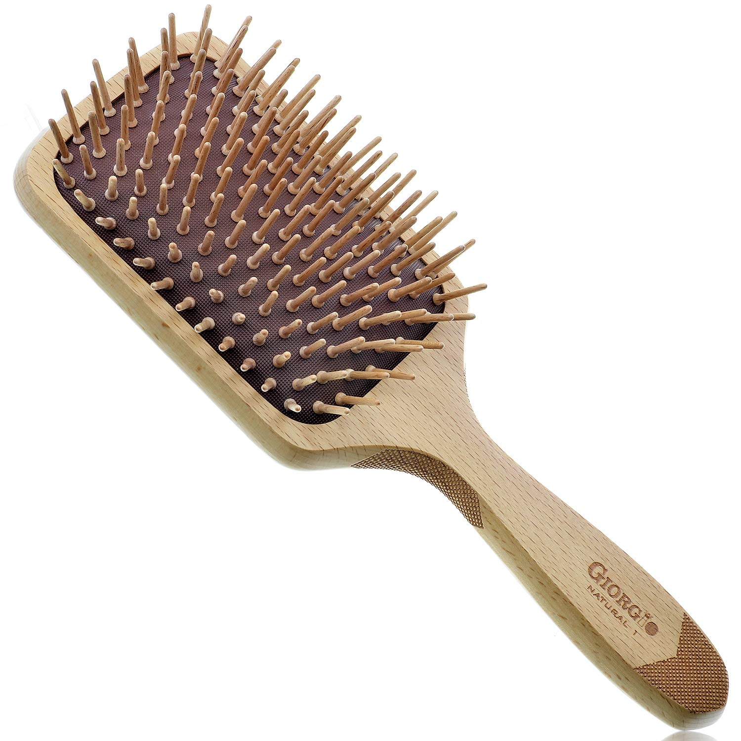 Giorgio Eco Friendly Wooden Bristle Hairbrush - Large Detangling Brush and Hair Growth Brush for Thick or Long Hair - Paddle Hair Brush Made with Anti Static Beechwood and Silicone Massage Cushion