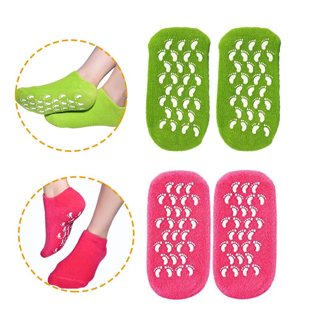 Moisturizing Socks, Gel Socks Soft Moisturizing Gel Socks, Gel Spa Socks For Repairing and Softening Dry Cracked Feet Skins, Gel Lining Infused with Essential Oils and Vitamins (Rose Red & Green)