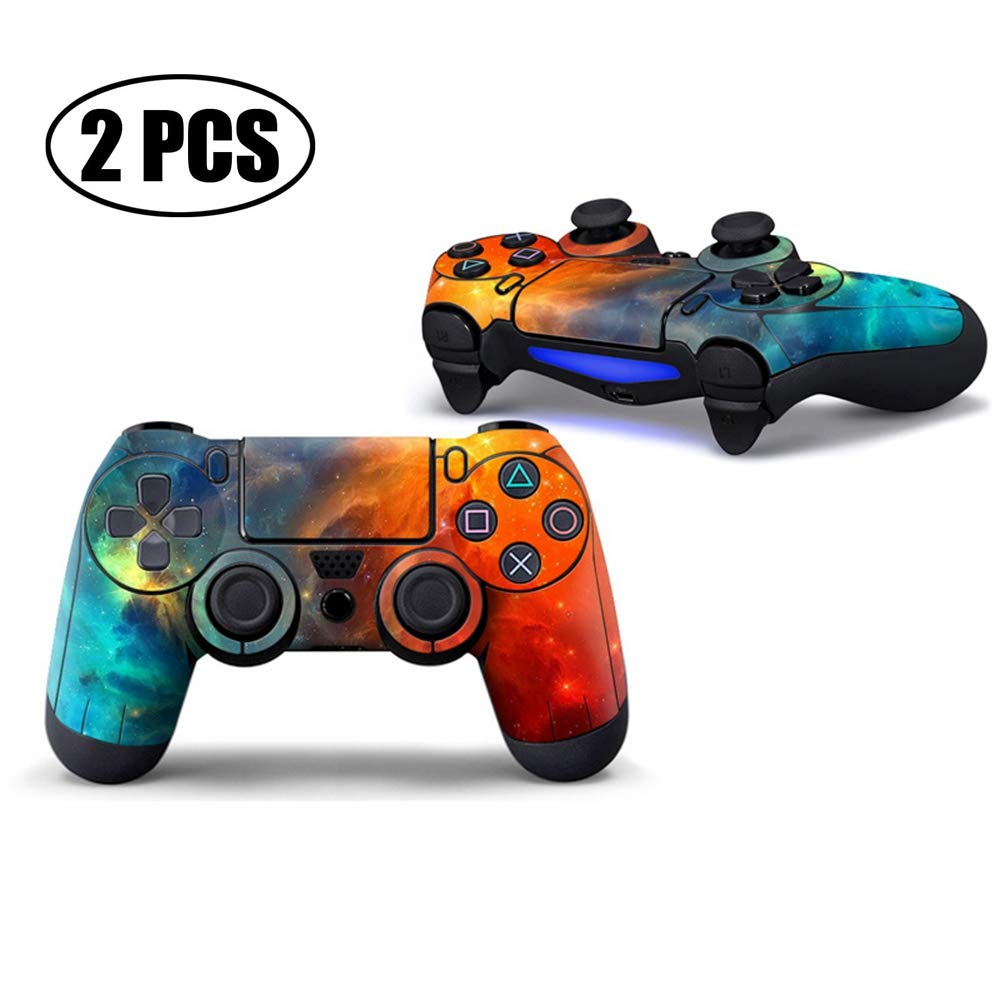 2 Pcs PS4 Controller Skin Vinyl Sticker Decal Cover for PlayStation 4 Controller - Universe Galaxy