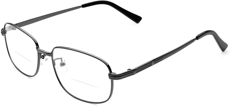 Metal Bifocal Reading Glasses Men Women Comfortable Bifocal Readers Eyeglasses +1.00 Strength