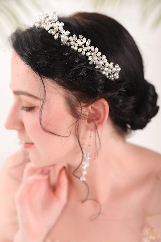 Fxmimior Bridal Pearl Headband Rhinestone Hair Wreath Crystal Hair Wreath Bridal Headpiece Silver Hair Jewelry for Women and Girls Wedding Hair Accesorries(Headband)
