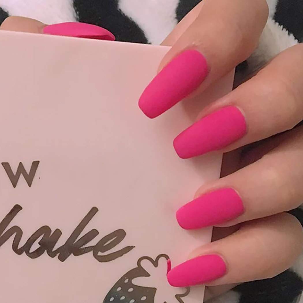 Obmyec Coffin Fake Nails Pink Long Press on Nails Acrylic False Nails Matte Full Cover Tips Nails for Women and Girls (24pcs)
