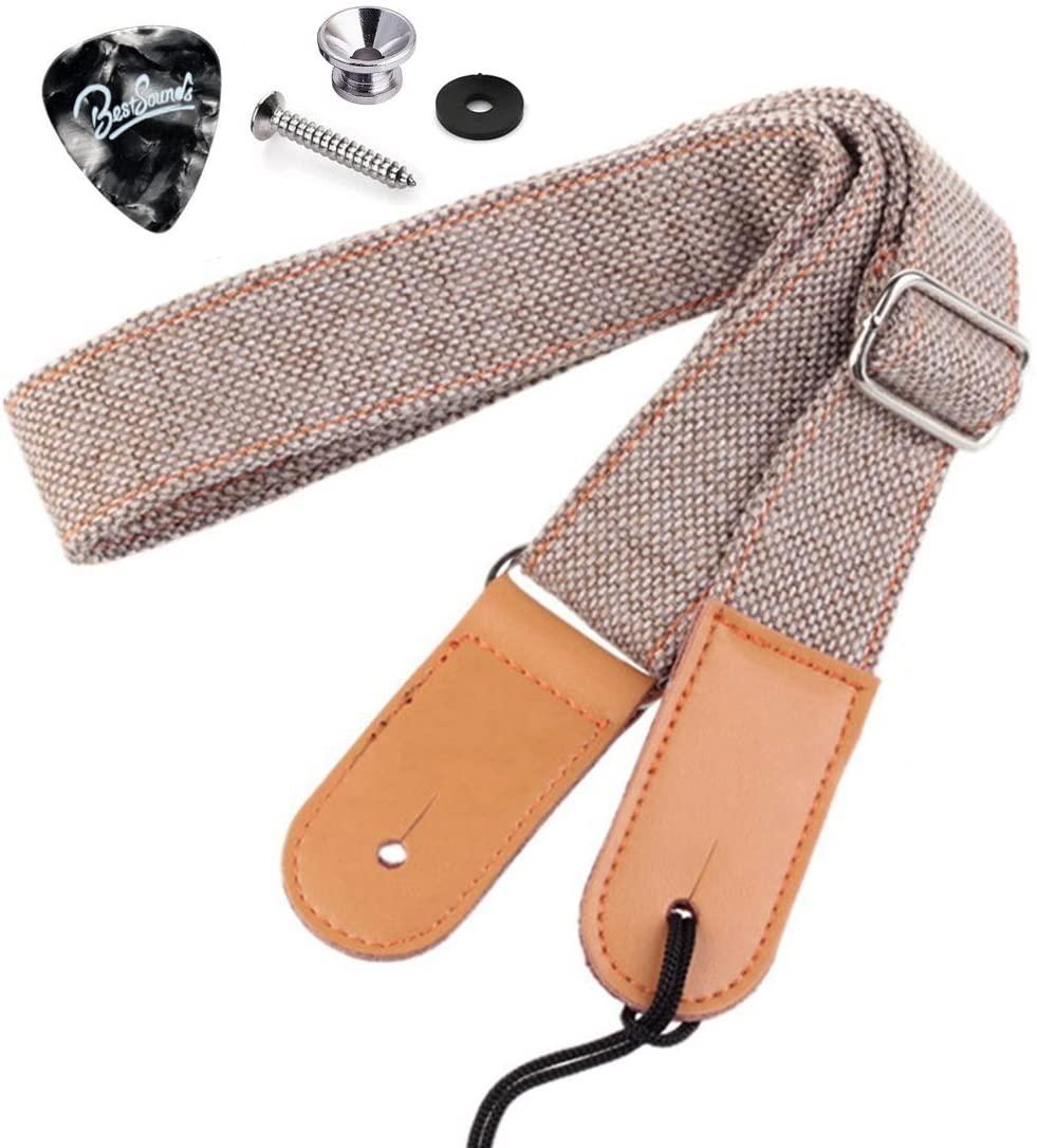 Rinastore Ukulele Strap Country Style Soft Cotton Linen & Genuine Leather Shoulder Strap for Ukulele Banjo Mandolin (Lt Grey-US-12)