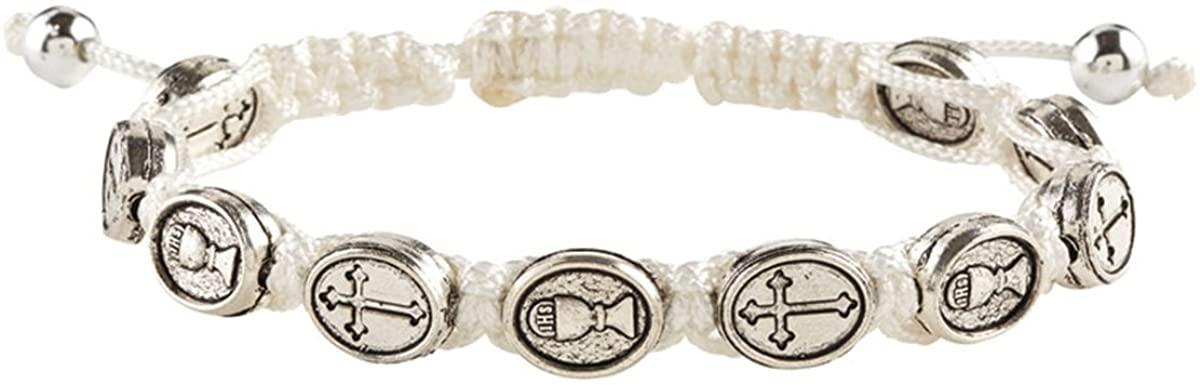 Catholic Religious Medal Adjustable Macrame Bracelet, 4 Inch