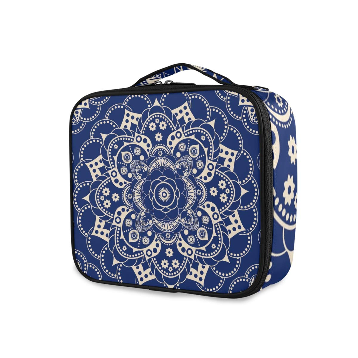 ALAZA Travel Makeup Case, Tribal Ethnic Floral Mandala Pattern Blue Cosmetic toiletry Travel bag for Women Girls