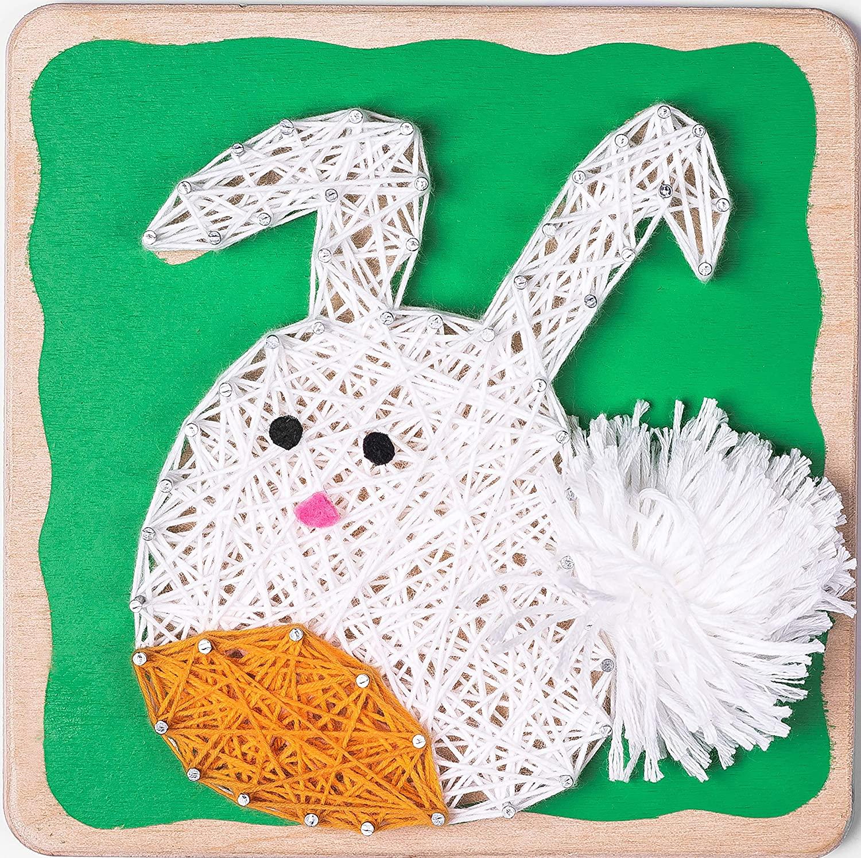Fornel String Art Kit Rabbit- Bigger Size Canvas - Colored DIY Rabbit Art String Crafts for Girls Kids Teens Ages 8-15