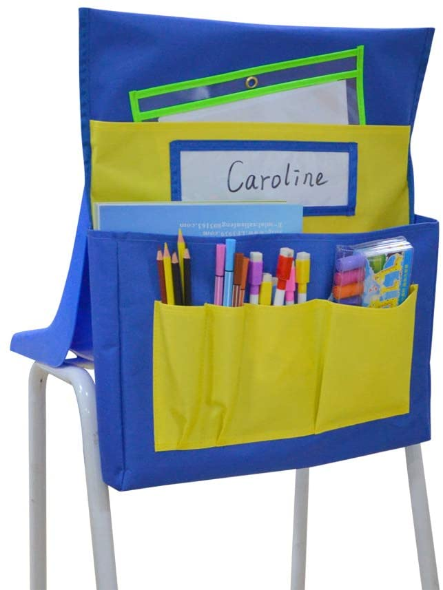 Kruideey Chairback Buddy Pocket Chart, Seat Sack for Classroom,with 6 Storage Pocket, Durable Heavy-Duty Canvas-Blue&Yellow