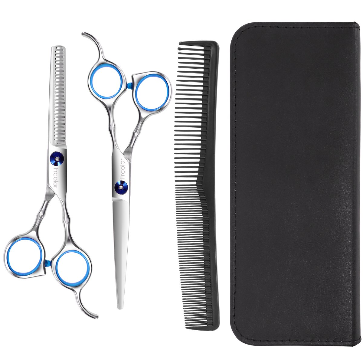 Frcolor Hair Cutting Barber Scissors/Shears, Barber/Salon/Home Thinning Shears Kit Hair Scissors Set with Comb Case Hairdressing Cape
