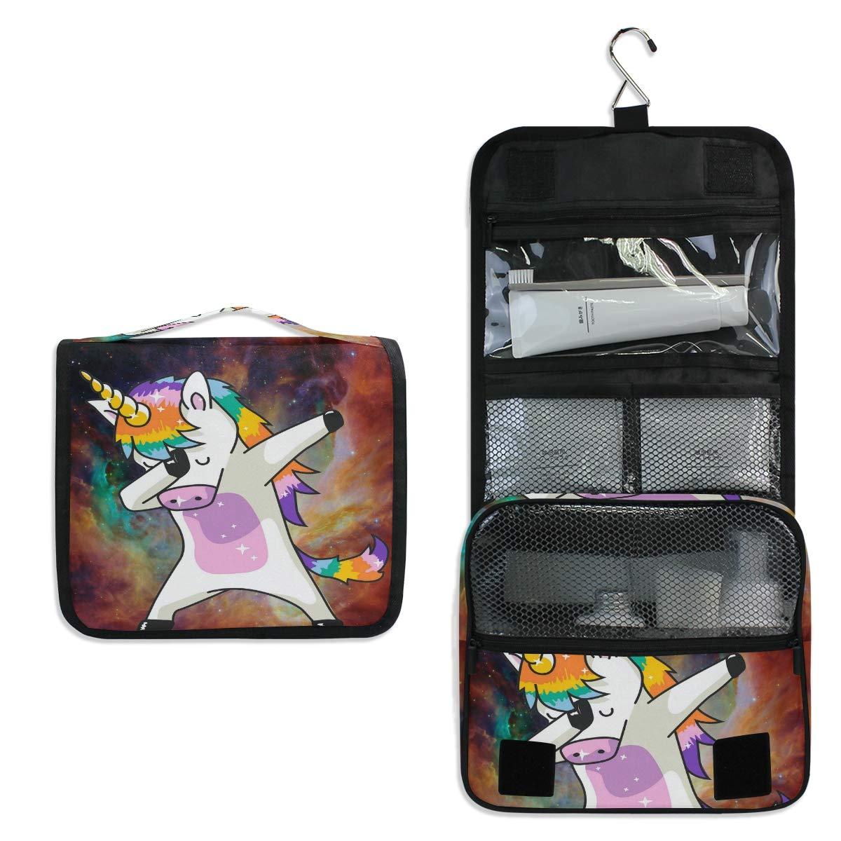 JOYPRINT Hanging Toiletry Bag Galaxy Funny Animal Unicorn, Makeup Bag Cosmetic Bag Bathroom Travel Organizer Large for Women Girls