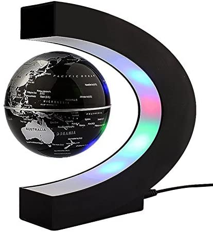 ZJchao Floating Globe Rotating World Map Earth Planet Ball with C Shaped Magnetic Levitation LED Display Platform Stand - Educational Gifts for Kids, Office Desk Decoration Ornament (Black)