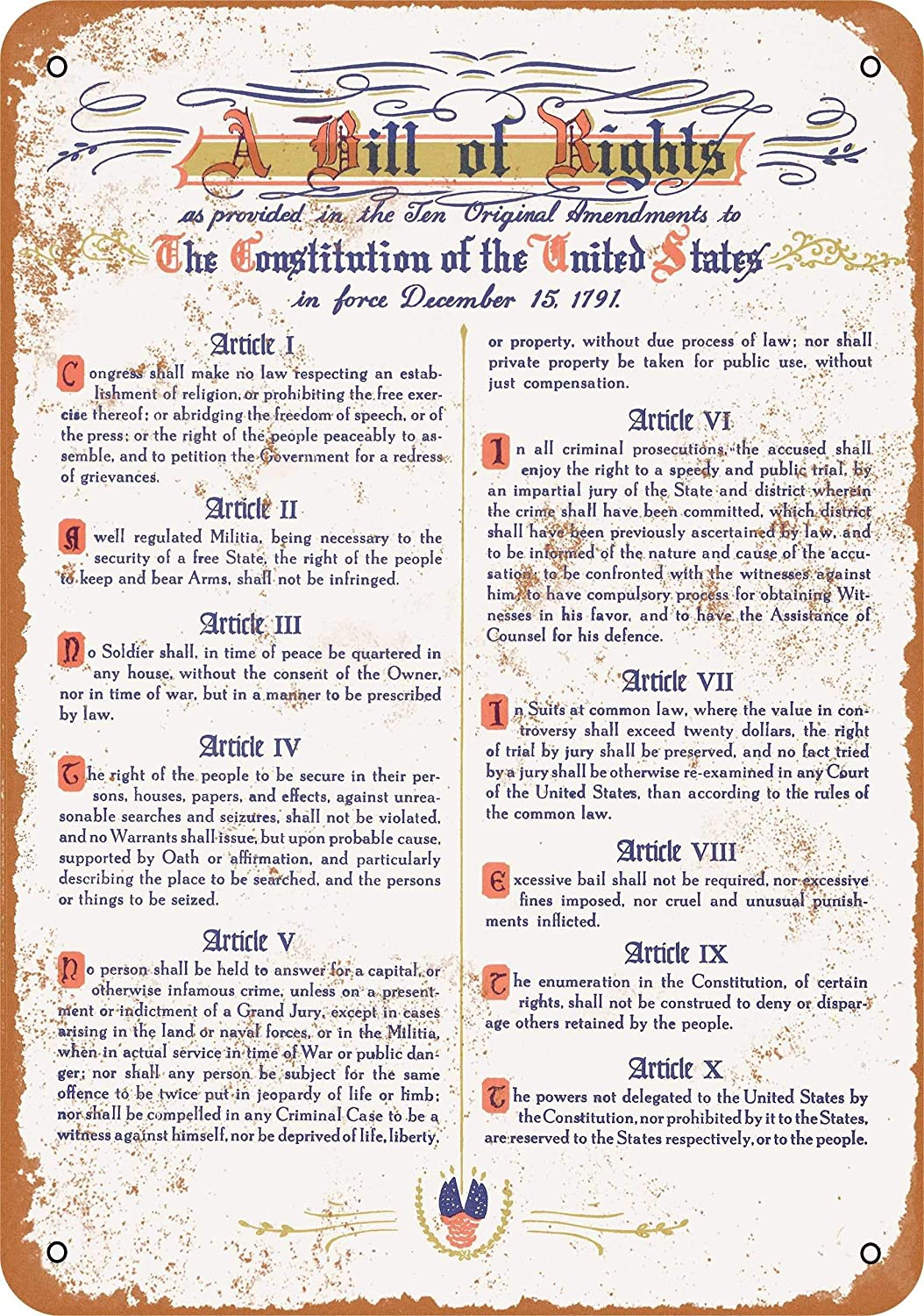 2 Pcs 10 x 14 in Metal Sign - 1791 United States Bill of Rights - Vintage Look