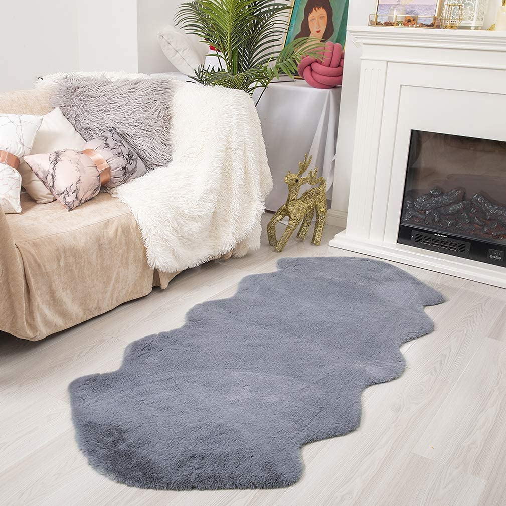Ultra Soft Faux Rabbit Fur Chair Couch Cover Area Rug for Bedroom Floor Sofa Living Room (2 x 4 ft Sheepskin, Grey)