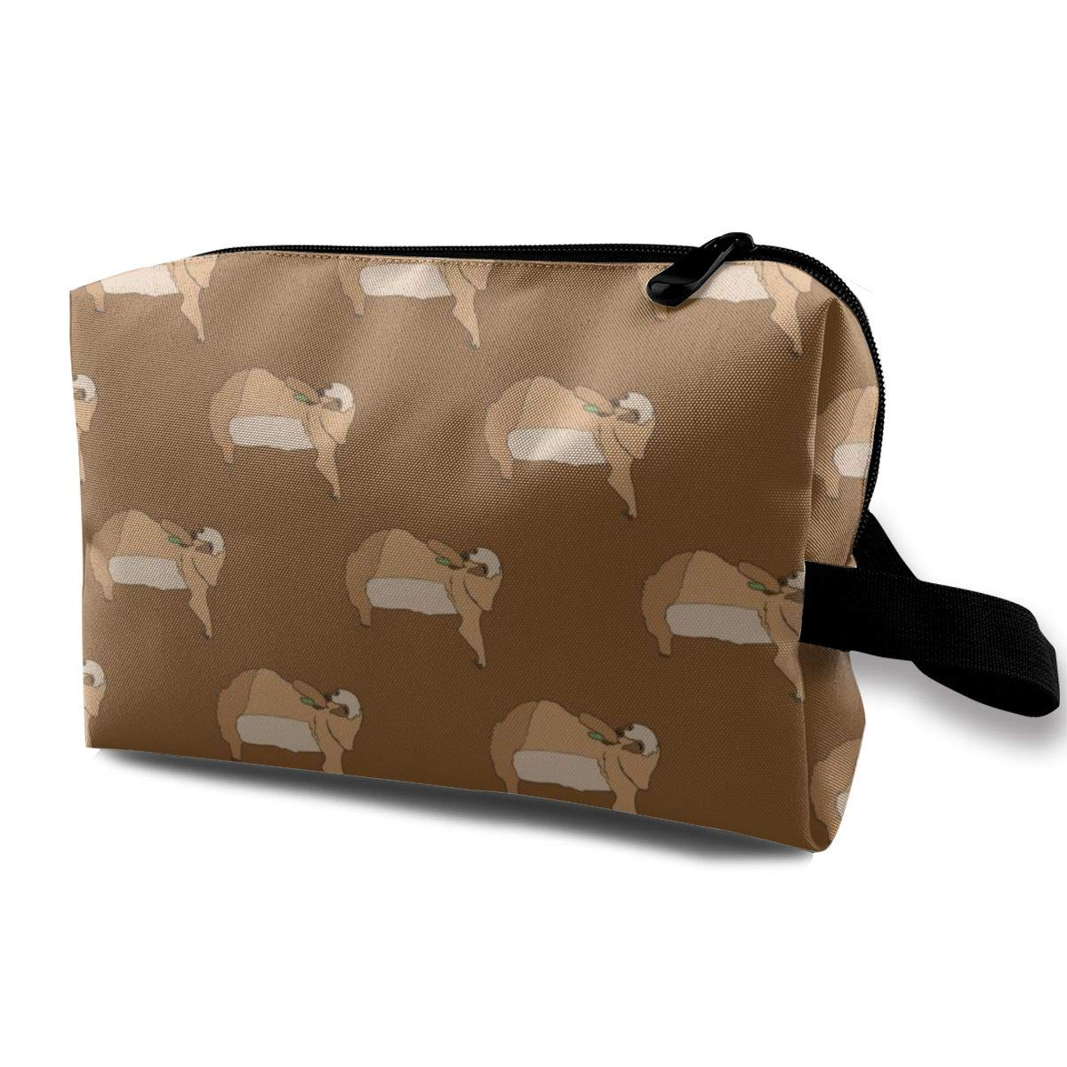 Sloth Eating Leaves Makeup Bag Pouch Purse Cosmetic Organizer for Women,Portable Waterproof and High Capacity,for Lipstick Eyeshadow Hairbrushes