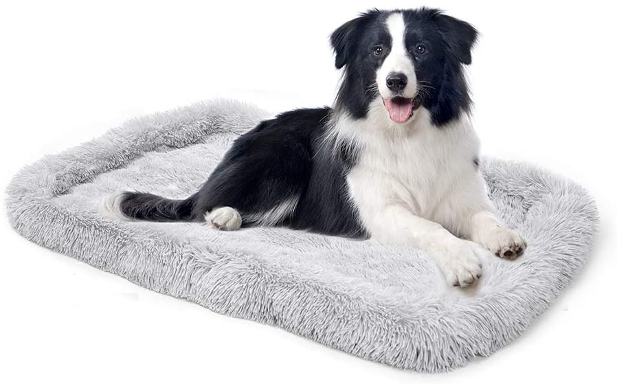 amorus Dog Crate Mat, Ultra Soft Comfortable Plush Cushion Bed Pad, Washable Warming Rectangle Dog Bed Mat for Medium Large Dogs (36x23inch)