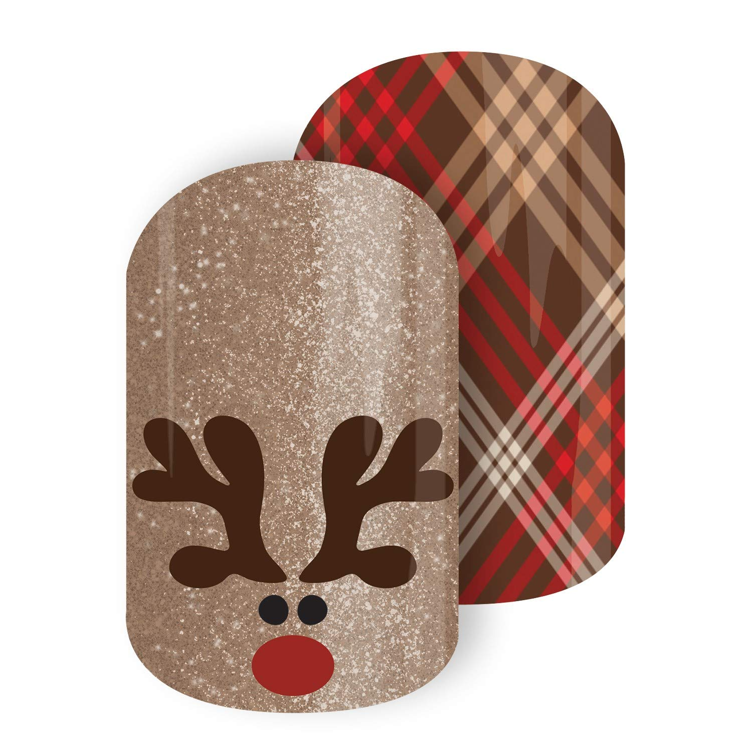 Christmas, Hanukkah & New Year Exclusives | Jamberry Nail Wraps | Nail Decal | Winter Seasonal Nail Art Stickers (Half Sheet - 1 manicure / 1 pedicure, Rudolph Roundup)