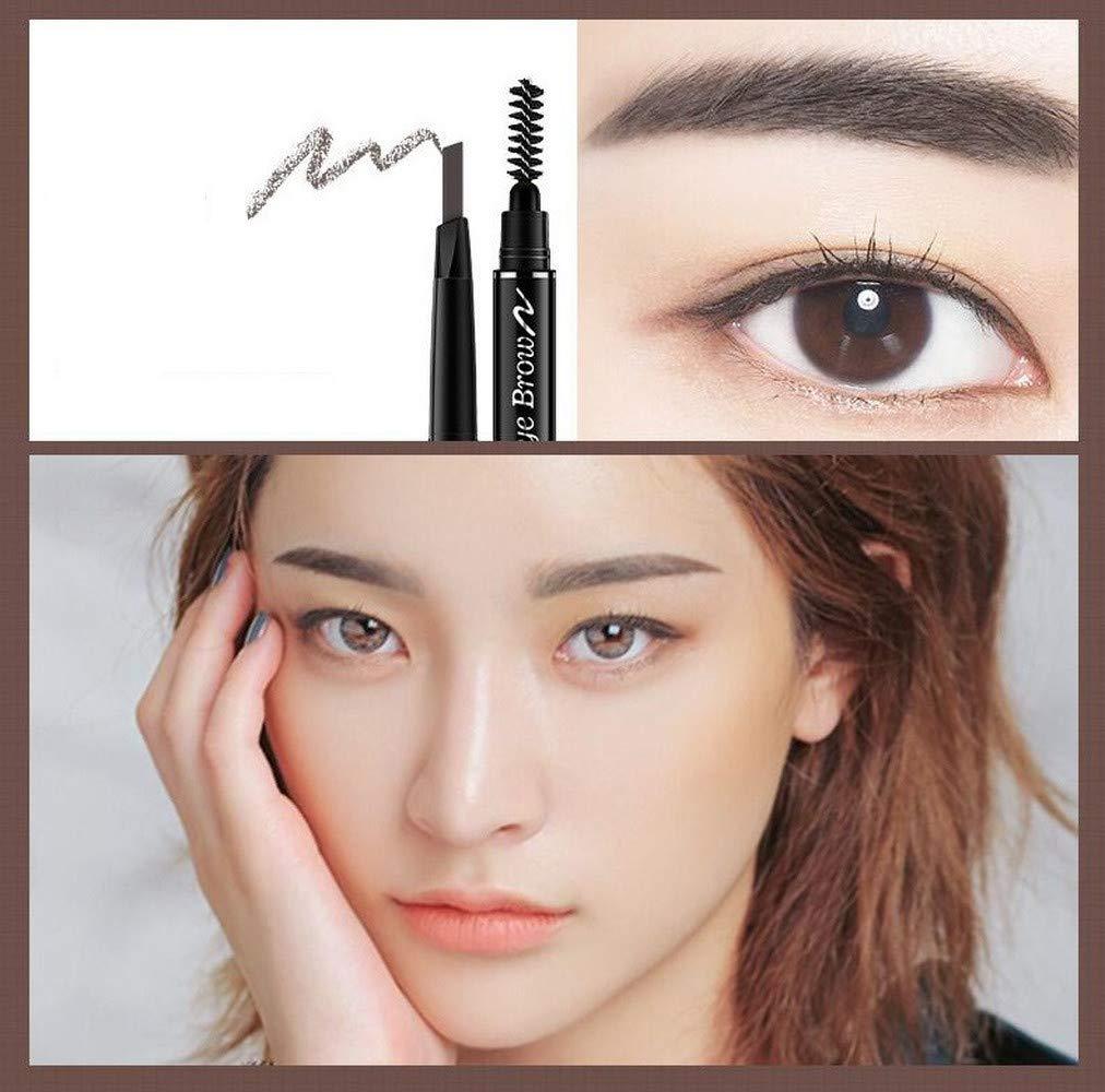 Eye Brow Tint Cosmetics Natural Long Lasting Paint Tattoo Eyebrow Waterproof Black Brown Eyebrow Pencil Makeup Set (04-Grey Brown)