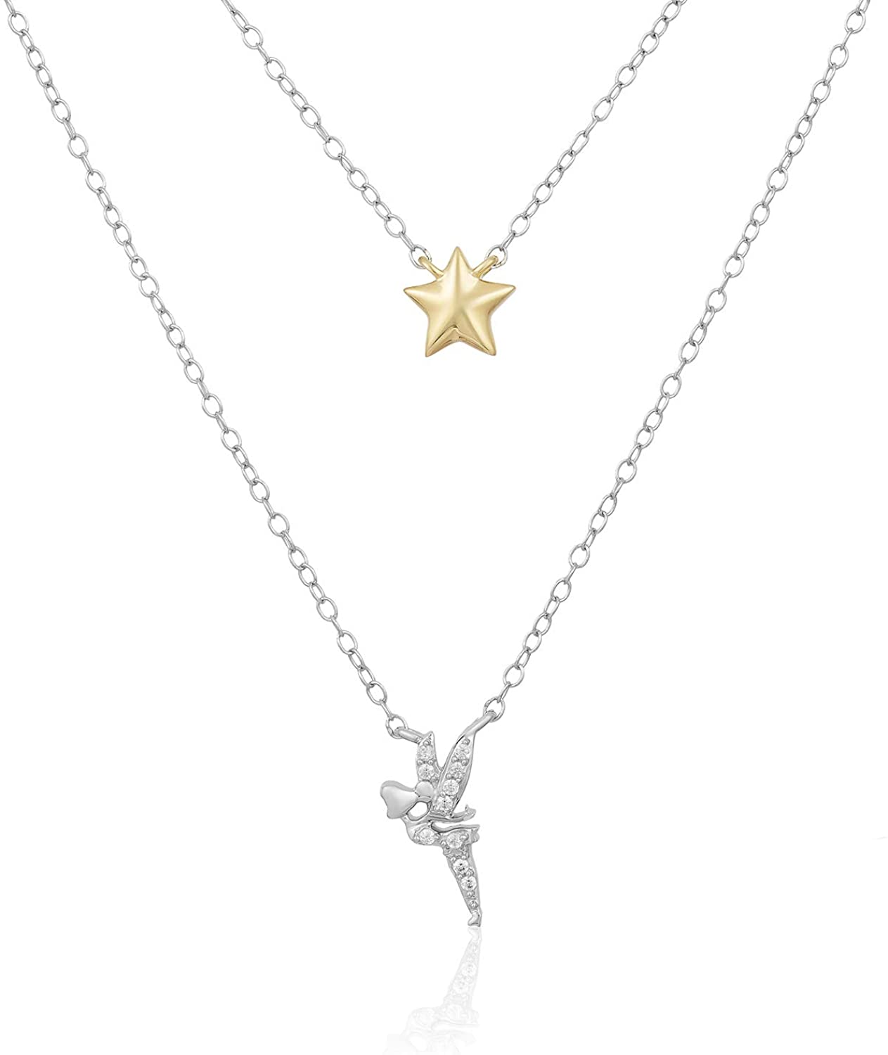 Jewelili Enchanted Disney Fine Jewelry Yellow Gold Over Sterling Silver 1/20 CTTW Tinker Bell Fairy Necklace