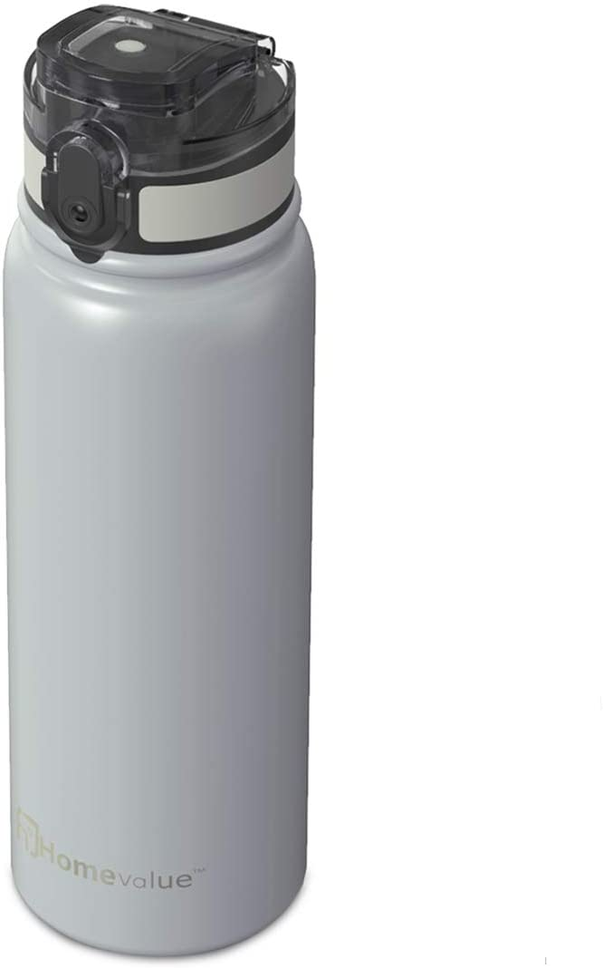 Homevalue Stainless Steel Water Bottle,Leakproof BPA-Free Water Bottle for Sports, Gym, Kids, Yoga, Outdoor, 17oz (Grey)