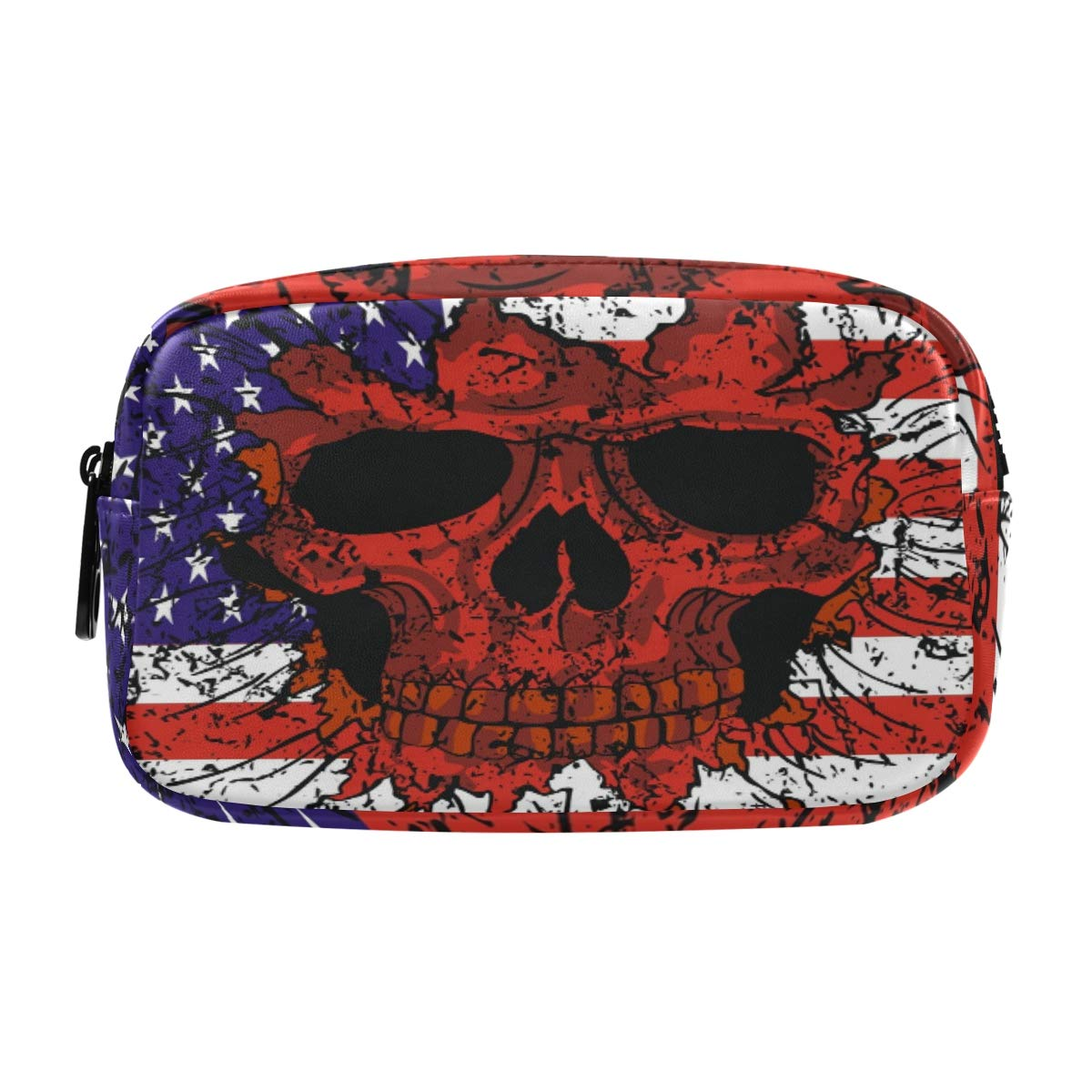 ALAZA American Flag Skull Vintage Cosmetic Bag Leather Pencil Case Waterproof Portable Travel Makeup Pouch with Zipper for Women Girls Teens