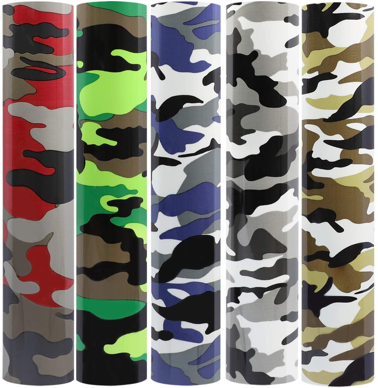 Camouflage Heat Transfer Vinyl Bundle/Camo Iron on Vinyl 12 inches by 12 inches,5 Sheets for DIY Shirt and die-Cutter