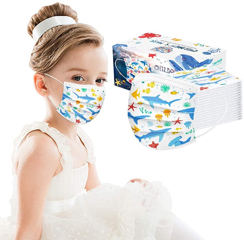 BATKKM Kids Reusable Cartoon Printed Face Bandanas Breathable Seamless Cute Print Washable Cotton Children