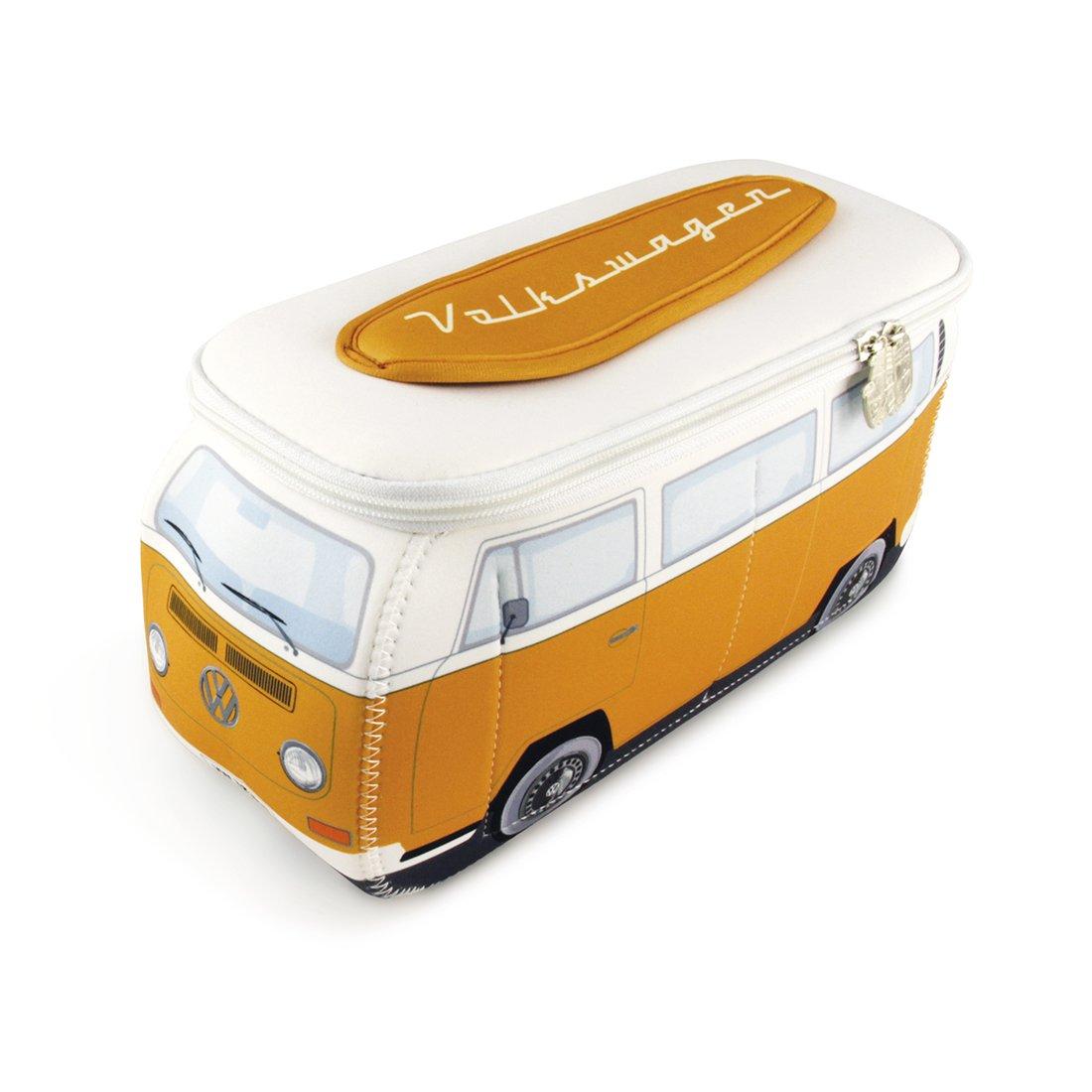 BRISA VW Collection - Volkswagen Samba Bus T2 Camper Van 3D Neoprene Universal Bag - Makeup, Travel, Cosmetic Bag (Neoprene/Orange)