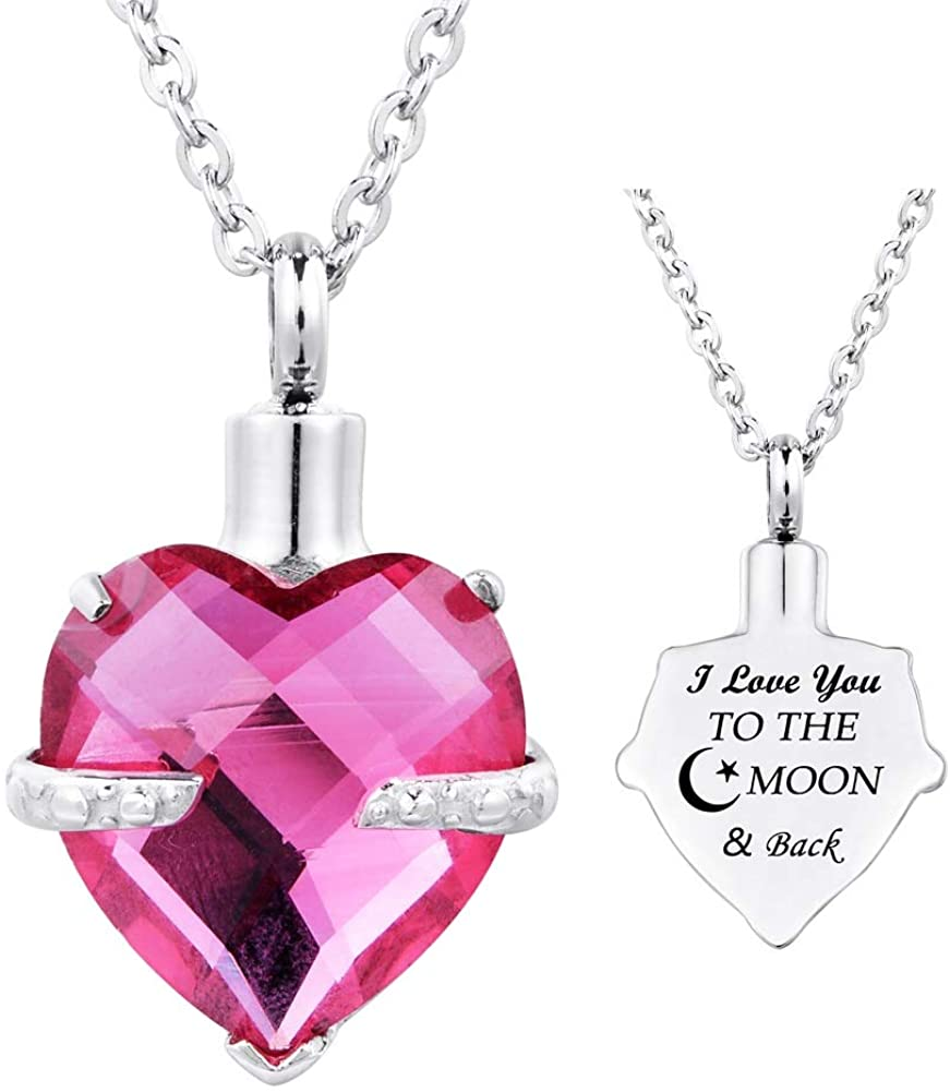 Supreme glory Heart Cremation Urn Necklaces for Ashes Memorial Pendant I Love You to The Moon and Back Engraved 12 Birthstone Jewelry