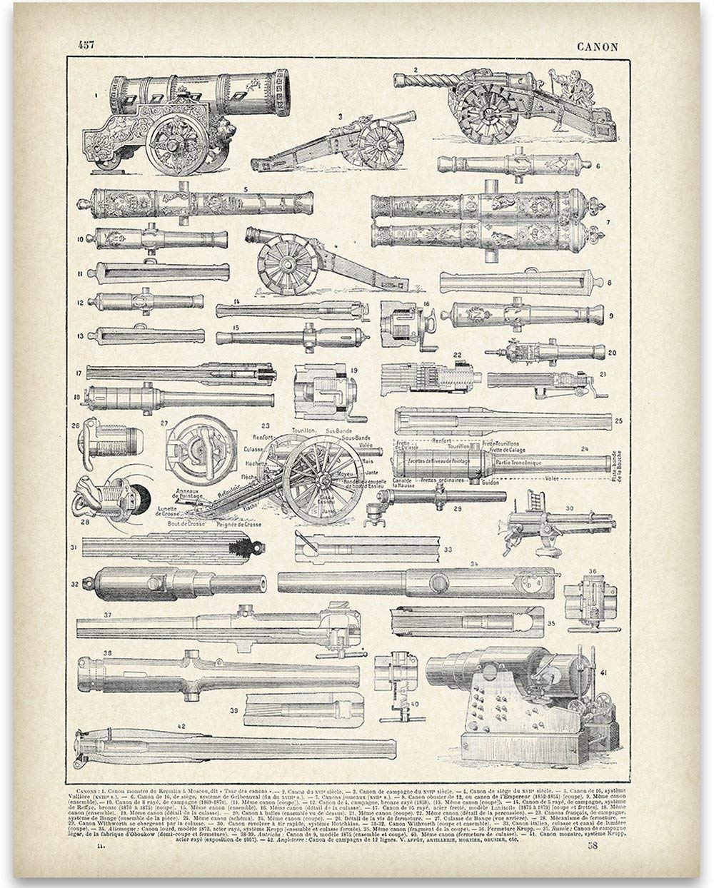 French Cannon Illustration - 11x14 Unframed Art Print - Perfect Home Decor