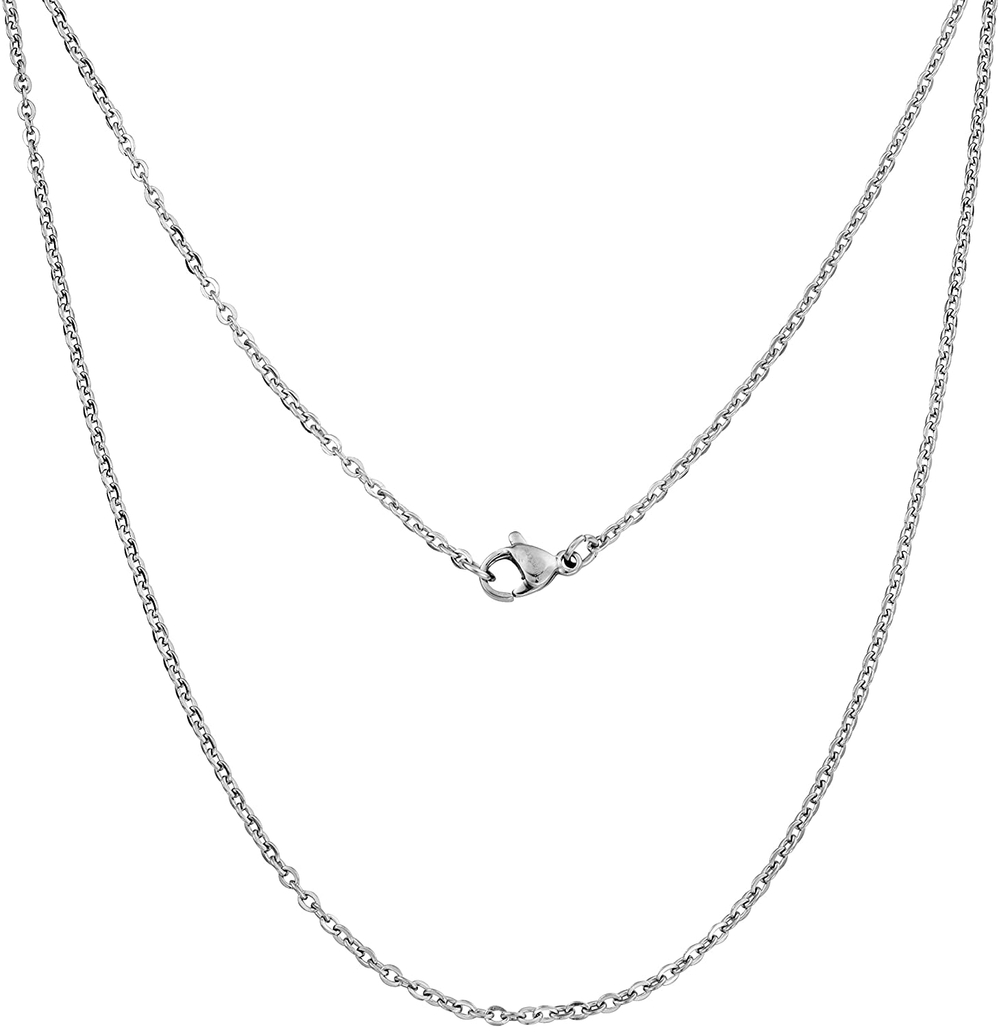 Silvadore 3mm Belcher Mens Necklace - Silver Chain Stainless Steel Jewelry - Rolo Neck Link Chains for Men Man Male Women Boys Girls - 18 20 22 24 26 30 36 Inch