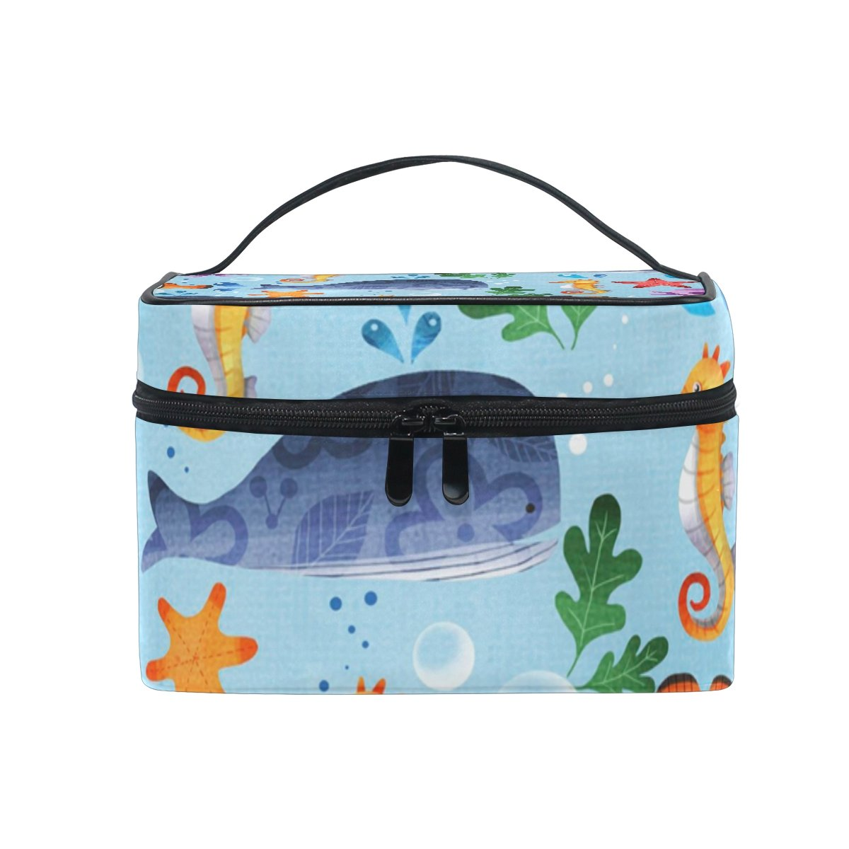 Makeup Bag Artist Storage for Cosmetics, Makeup Brush Set, Jewelry, Toiletry And Travel Accessories Skincare Kit Whale Starfish