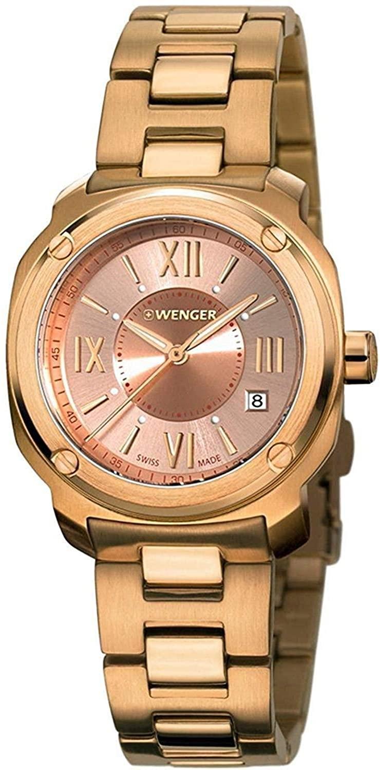 Wenger Edge Roman Quartz Movement Rose Gold Dial Ladies Watch 01.1121.112